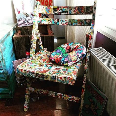 wrapping paper decoupage furniture marvel superheroes decoupage upcycle chair using