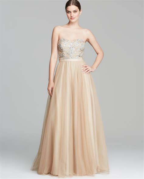 gold beaded gowns aidan mattox gown strapless beaded bodice in lyst