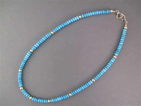 sleeping turquoise bead necklace sleeping turquoise 14kt gold bead necklace
