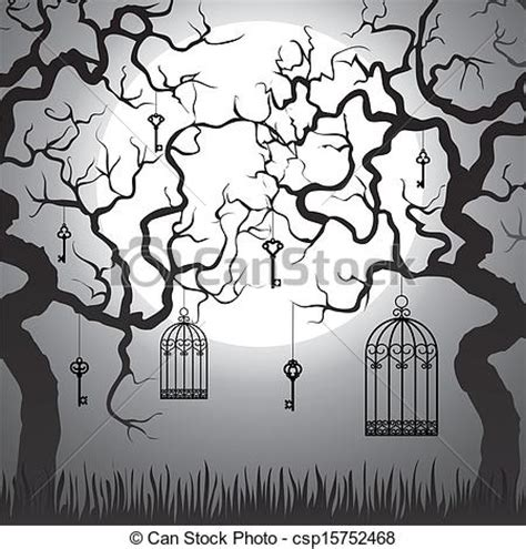 Home Decoration Paintings clip art vector of enchanted forest with gnarled trees and
