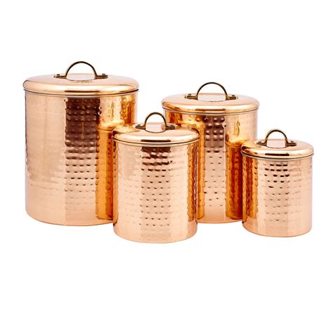 4 kitchen canister sets copper hammered canister set of four