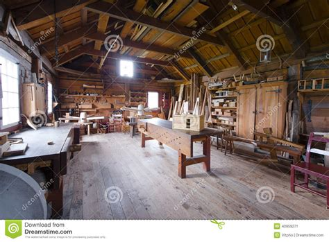 Garage Shop Design Ideas carpentry with tools and wood workpieces stock photo