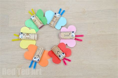 how to do craft for lovely diy rainbow butterfly cork craft to try with