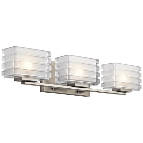 modern bathroom lighting fixtures kichler 45479ni bazely modern brushed nickel finish 24