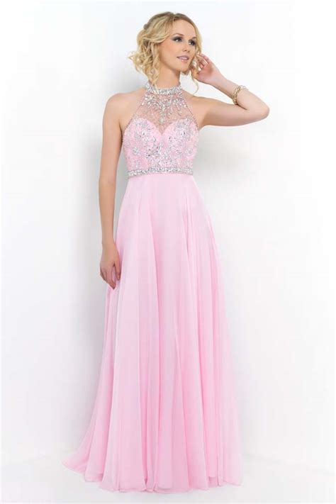 high neck beaded prom dress 2015 sparkly beaded illusion high neck pink prom
