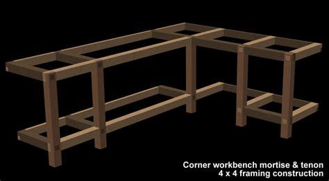 garage shop corner l shape workbench design woodworking