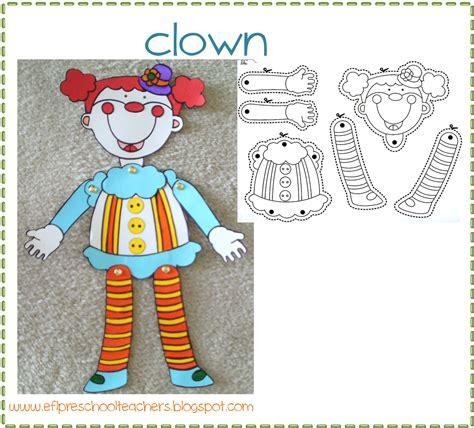 clown crafts for esl efl preschool teachers birthday theme