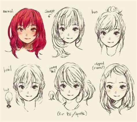 how to draw style different anime hair styles sheets