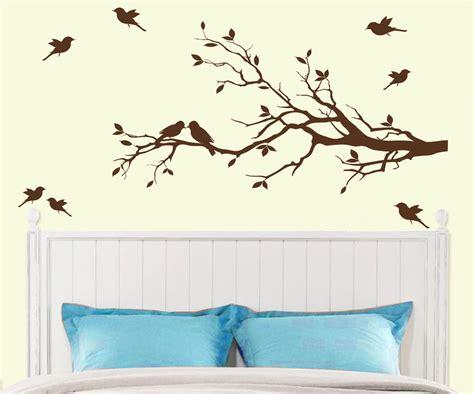 birds wall stickers tree branch with 10 birds wall decal deco sticker