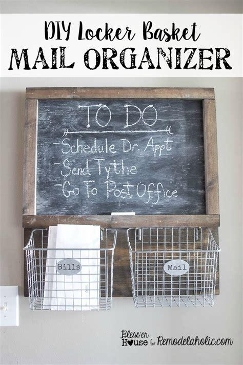 diy chalkboard mail organizer remodelaholic diy industrial locker basket mail organizer