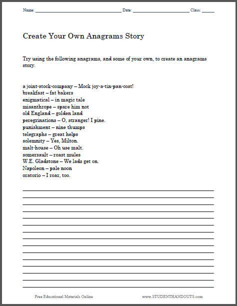 how to create a story create an anagrams story worksheet student handouts