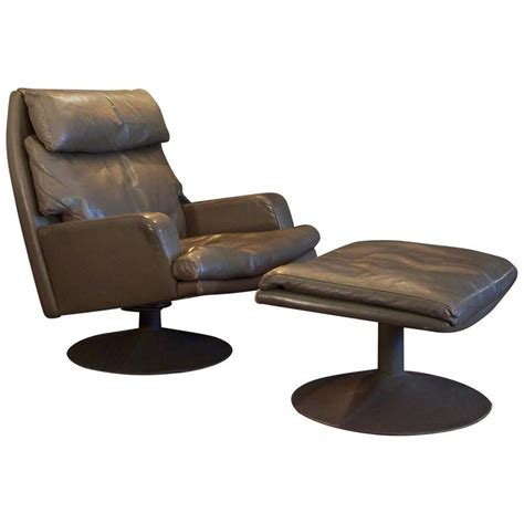 large swivel chairs large vintage leather swivel chair and ottoman for sale at
