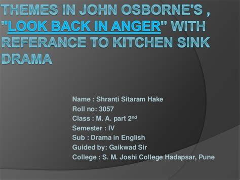 kitchen sink drama definition themes in osborne s look back in anger