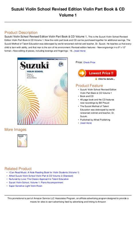 Suzuki Violin Book 1 Cd by Suzuki Violin School Revised Edition Violin Part Book Cd