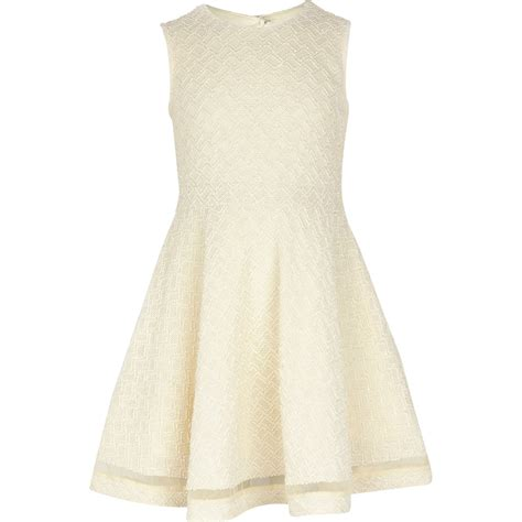 river island knitted dress river island knit look skater dress in beige