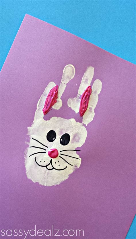 print crafts bunny rabbit handprint craft for easter idea