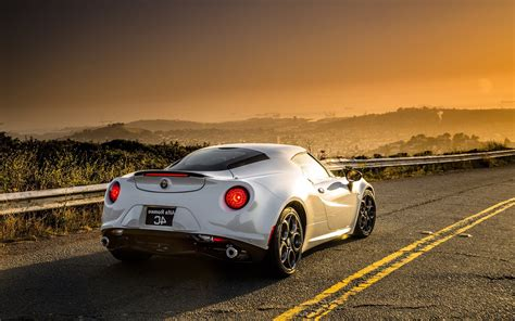 Car Landscape Wallpaper by Car Road Alfa Romeo Alfa Romeo 4c Sunset Landscape