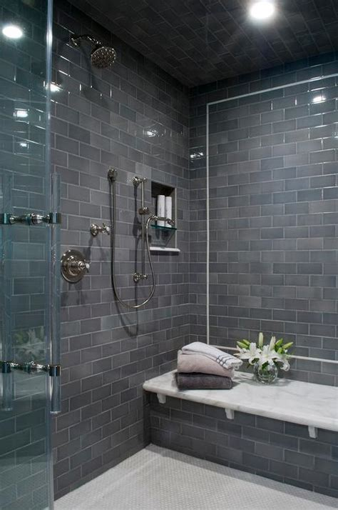 modern gray tile bathroom gray subway shower tiles with white marble top bench