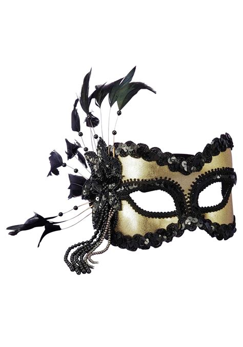 black mardi gras black and gold sequin and feather mardi gras mask