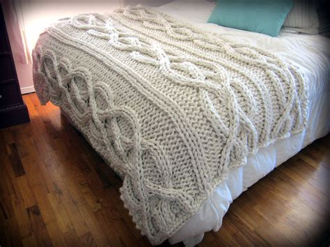 blanket knitting luxury oversized cable knit blanket made to order by