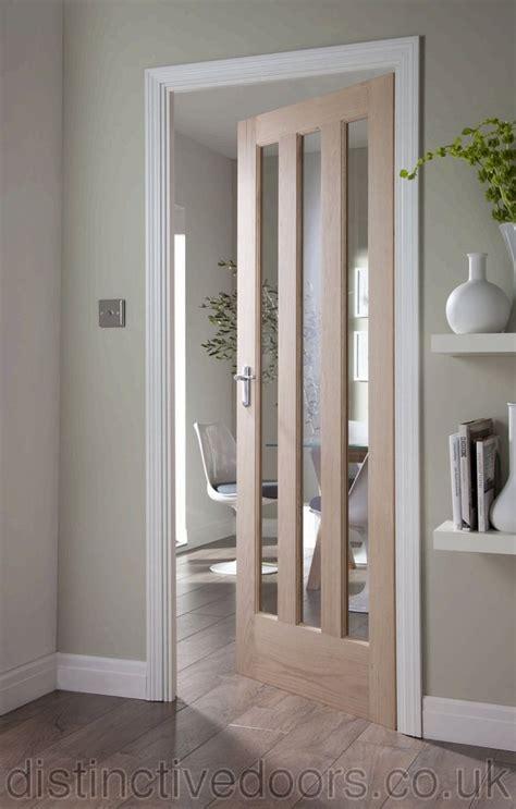 glazed interior doors aston 3 light clear glazed oak door
