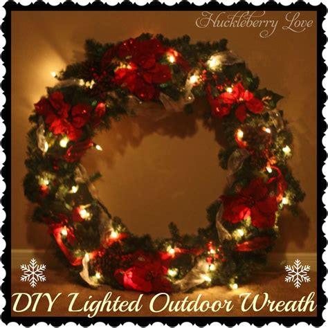 lighted wreaths for outdoors huckleberry diy lighted outdoor wreath tutorial