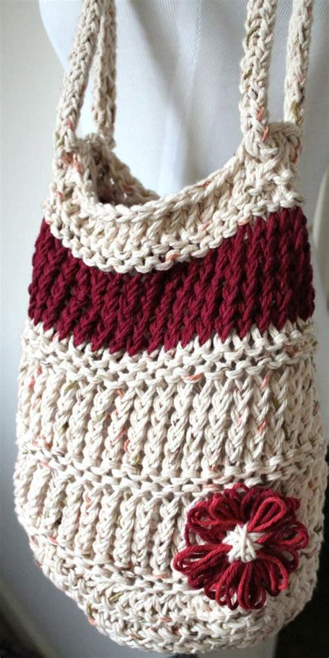 how to knit a bag on a loom loom knit bag neutral burgundy tote with flower