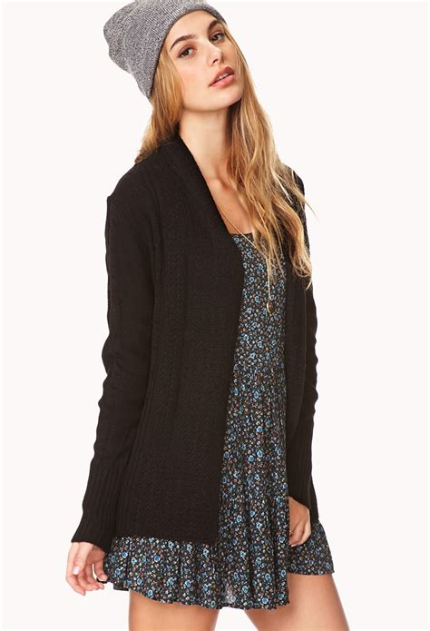 knit cardigan forever 21 forever 21 easy cable knit cardigan in black lyst