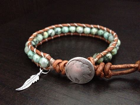 how to make american beaded bracelets turquoise leather wrap bracelet with sterling silver