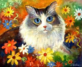 cat painting photos quot whimsical cat painting in flowers svetlana novikova quot by