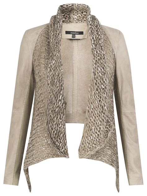 knitted jacket galatti knitted leather waterfall jacket in beige