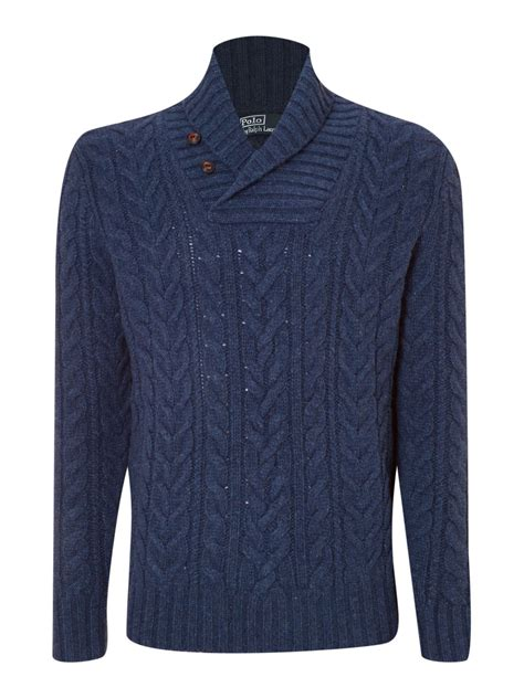 ralph navy cable knit jumper polo ralph aran cable knit shawl collar jumper in