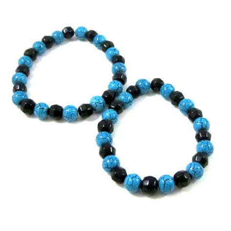 glass beaded bracelets turquoise blue and black stretch bracelet glass beaded