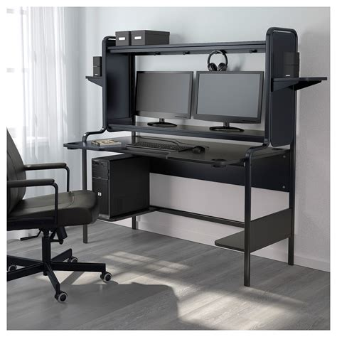 ikea black computer desk fredde workstation black 185x146x74 cm ikea