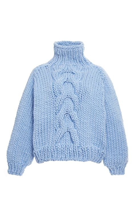 cropped cable knit sweater blue wool cropped high neck cable knit sweater by i moda