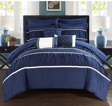 king size bedding in a bag sets king size comforter and sheet set navy blue white 10 pc