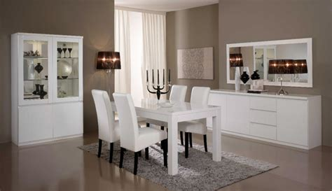 salle a manger complete roma laqu 233 blanc laque blanc