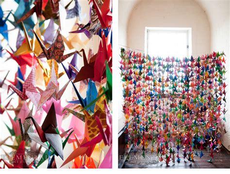 thousand origami cranes wedding decoration on paper cranes origami