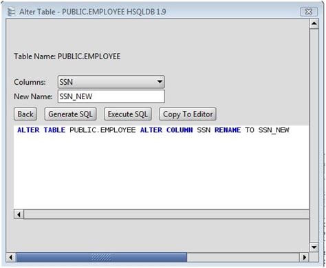 sql query to change table name alter table change column name alter table update column