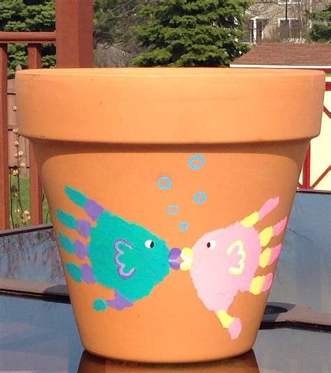 flower pot kid craft animal handprint fish flower pot at home craft