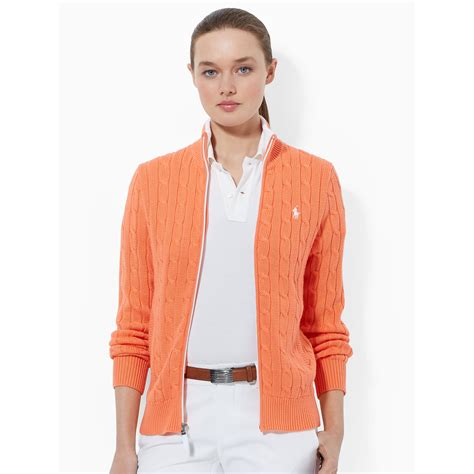 cable knit ralph sweater ralph golf cable knit zip up sweater in orange lyst