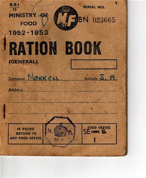 pictures of ration books ration book for 1952 1953 ministry of food ration book
