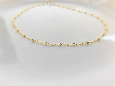 beaded choker necklace gold beaded choker satellite necklace 14k gold filled