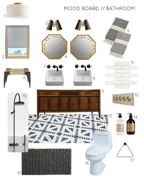 Sink Facet by Mood Board A Black And White Bathroom With Wood And Brass