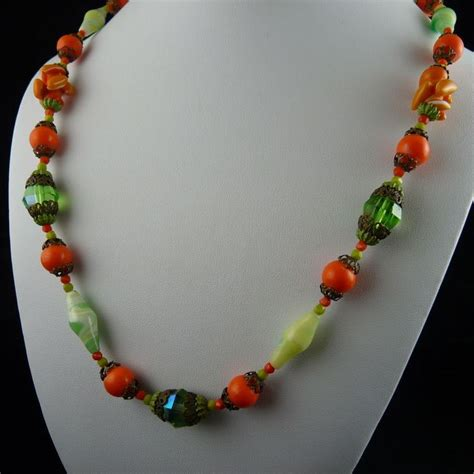 glass bead necklaces fabulous deco glass bead necklace orange and