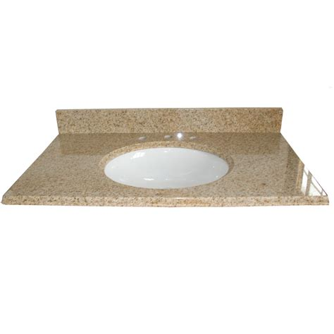 bathroom vanity tops lowes shop allen roth desert gold granite undermount single