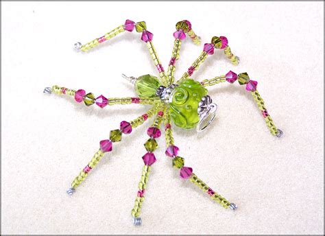 beaded spider aster green and pink glass beaded spider sun by