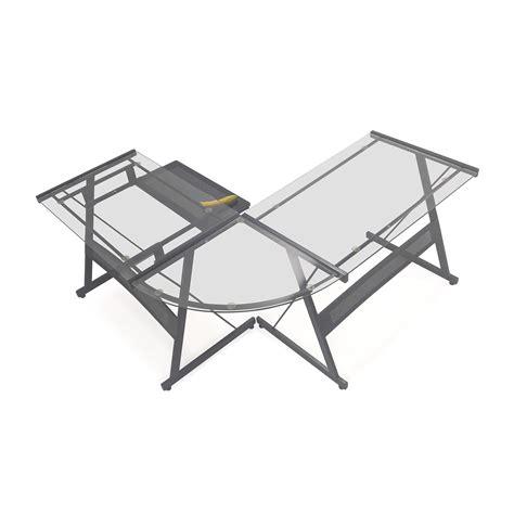 glass l shape desk 57 office max l shape glass desk tables