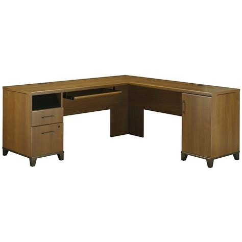 l computer desk bush achieve 70 quot l shape warm oak computer desk ebay