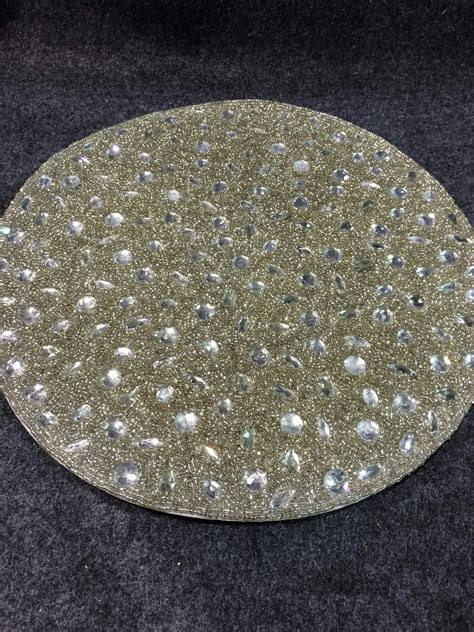 silver beaded place mats saro lifestyle 442 s15r beaded design placemat set 15 inch